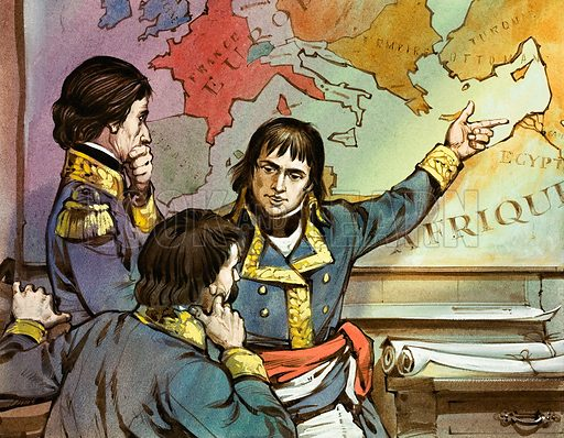 Napoleon outlining his Egyptian campaign.