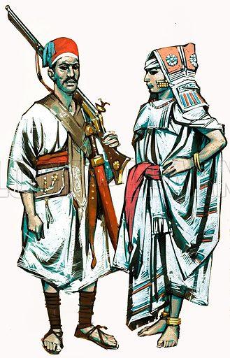 Unidentified national costumes. Original artwork.