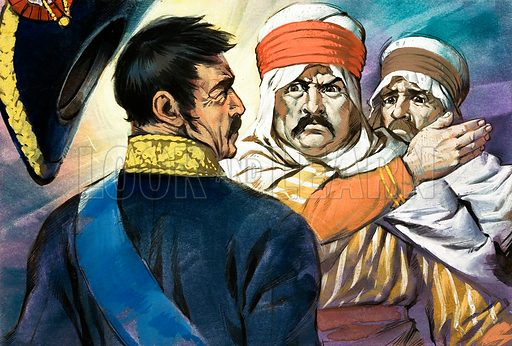 Unidentified man in middle-eastern or north African clothing slaps another man in uniform. Original artwork.