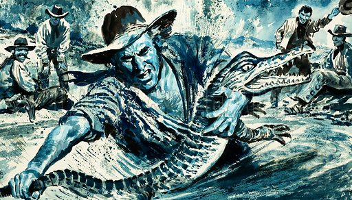 "The Texas Ranger: The Ranger Who Quelled a Riot. ""Alligator"" Davis earns his nickname. Original artwork from Look and Learn no. 803 (4 June 1977)."