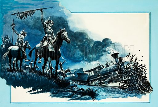 Rails Across the West: Braving the Indian Barrier. Original artwork from Look and Learn no. 776 (27 November 1976).