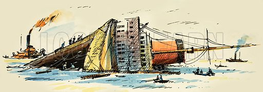 Unidentified shipping disaster. Original artwork.
