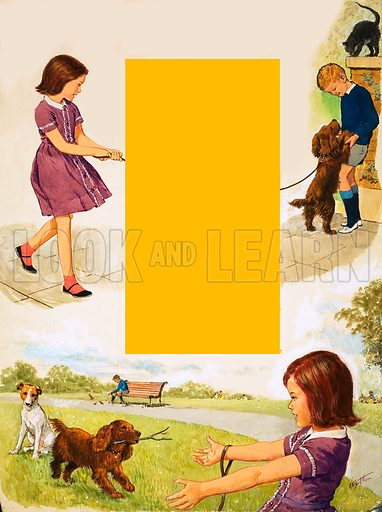 My Dog, illustration based on the poem by Sheila Chowen with girl walking dog and playing with dog in park. Original artwork from Treasure no. 30 (10 August 1963).