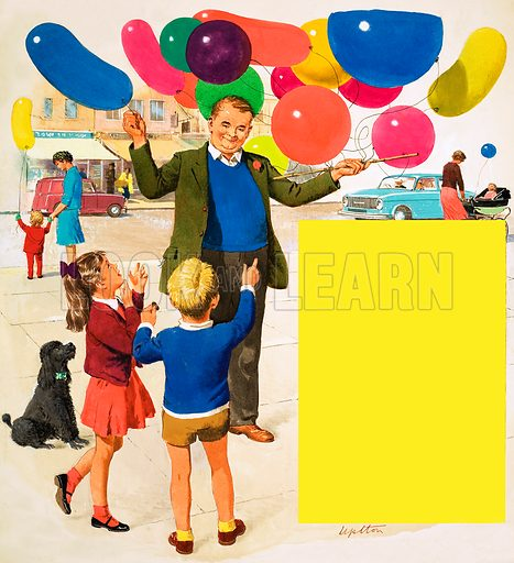 The Balloon Man, illustration based on the verse by Rose Fyleman with a picture of a boy and girl choosing a balloon. Original cover artwork from Treasure no. 152 (11 December 1965).
