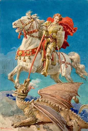 Saint George slaying the Dragon. Original cover artwork from Look and Learn no. 15 (28 April 1962).