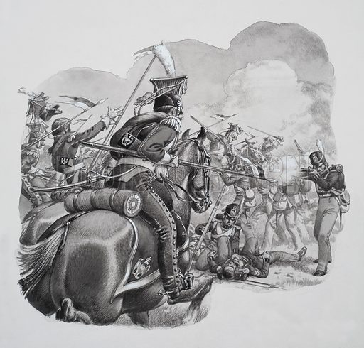 Light Cavalry, who were the high-speed shock troops of their day.  Their task was to discover an enemy's position before a battle, take advantage of any weak points during the engagement and harry the foe in retreat.  Original artwork for illustration on p9 of Look and Learn issue no 690 (5 April 1975).