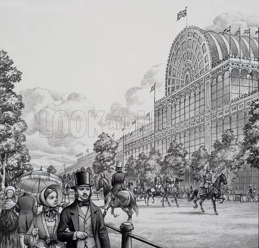 """Crystal Palace.  Sir Joseph Paxton designed this huge building of iron and glass.  It was the Crystal Palace and it accommodated the 1851 exhibition of """"the works of industry of all nations"""".  Original artwork for illustration on p19 of Look and Learn issue no 768 (2 October 1976)."""