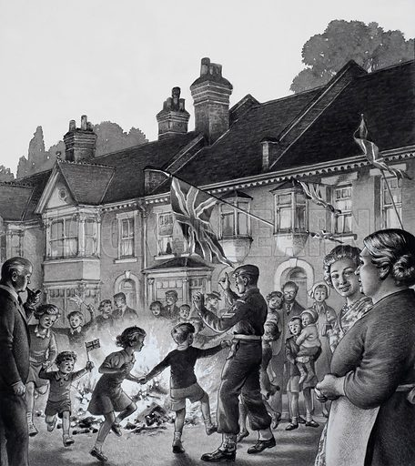 Victory Celebrations.  On 8 May 1945 the war in Europe ended and there were joyous celebrations in many London streets.  Original artwork for illustration on p22 of Look and Learn issue no 771 (23 October 1976).