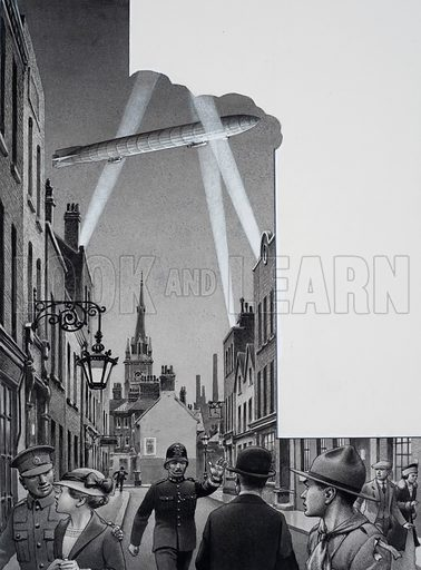 Zeppelins.  Bomb-dropping zeppelins, flying over the capital in the First World War, introduced Londoners to the horror of all-out-war.  Original artwork for illustration on p19 of Look and Learn issue no 770 (16 October 1976).