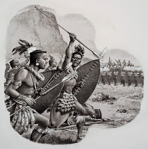 Zulus. Original artwork for illustration in Look and Learn (issue yet to be identified).