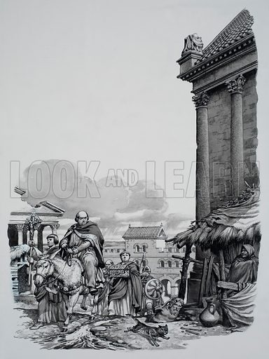 Bishop Mellitus arriving in London.  When Bishop Mellitus rode into London in 604AD he was not impressed by what he saw, for the city seemed to have fallen into ruins.  Original artwork for illustration on p19 of Look and Learn issue no 761 (14 August 1976).