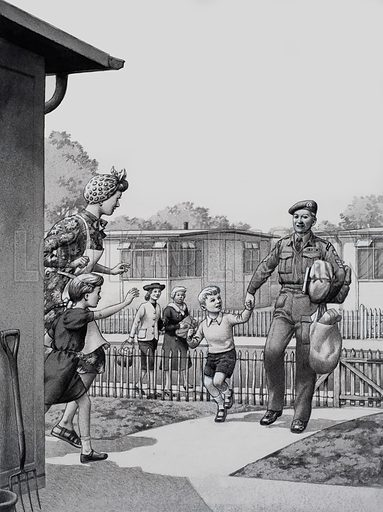 Pre-fabricated Houses, like those shown here were provided after the Second World War for people made homeless by the bombing, like this returning soldier and his family. Original artwork for illustration on p19 of Look and Learn issue no 772 (30 October 1976).