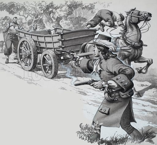 The Whipping of Widow Green.  Illustration to story by Howard Jones.  Original artwork for p33 of Look and Learn issue no 307 (2 December 1967).