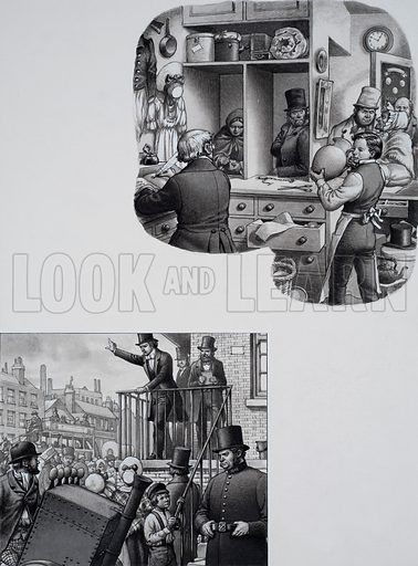 William Booth.  As an apprentice to a pawnbroker in Nottingham's slums, young Booth had seen, with painful clarity, what poverty did to people.  It was not long before Booth had begun his own private war against sin and suffering, preaching in the open air to anyone who would stop to listen.  Original artwork for illustration on p17 of Look and Learn issue no 654 (27 July 1974).