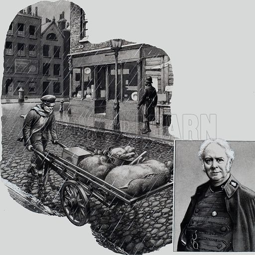 Bramwell Booth, shown trudging through London's East End with a barrowload of scraps and bones which would mean a feast for the starving, and in later life.  Original artwork for illustration on p14 of Look and Learn issue no 657 (17 August 1974).