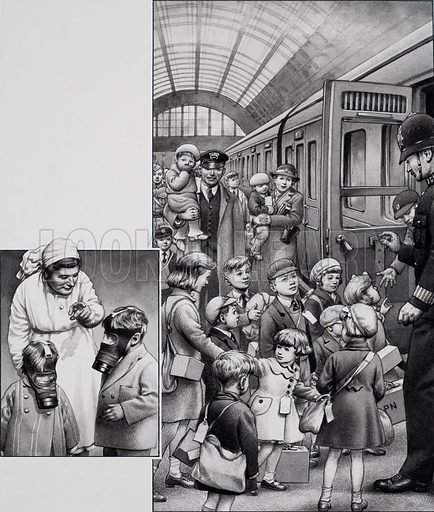 Evacuation of London Children at the beginning of the Second World War, with gas marks (officially called respirators) and identification labels.  Original artwork for illustration on p19 of Look and Learn issue no 771 (23 October 1976).