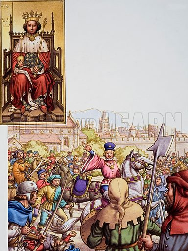 The Peasants' Revolt. Unrest among the working population led to the Peasants' Revolt in 1381. Led by Wat Tyler, the peasants marched on London, burning buildings and killing people. Richard II(see in a contemporary portrait on the left) met them, and Wat Tyler was stabbed by the Lord Mayor or in the dispute that followed. After Tyler's death (below), Richard quieted Tyler's followers with the promise which he did not keep, that their grievances would be removed. Original artwork for illustration on p20 of Look and Learn issue no 763 (28 August 1976).