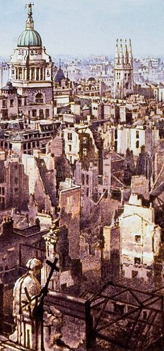 View from St Paul's during the Blitz. A view of the City of London from the roof of St Paul's Cathedral, showing the devastation caused by the Blitz.