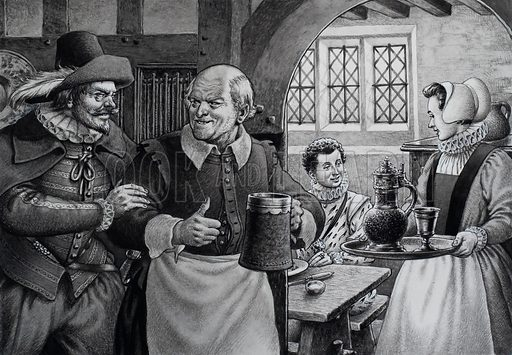 """Poor Hospitality.  Sometimes """"mine host"""" at an English inn was in league with the local highwayman.  Having been informed where a guest was bound for, the highwayman would ambush the wayfarer and share the booty with his crony.  Original artwork for illustration on p24 of Look and Learn issue no 708 (9 August 1975)."""