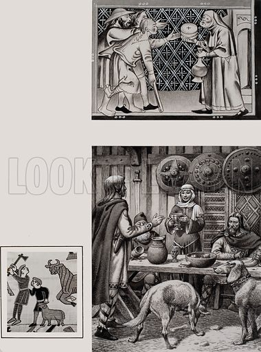 Anglo Saxon Feast.  One custom of Anglo Saxon times was to distribute food after a feast.  The servants had first pickings, then the remainder was given to the poor, as we see above.  Another custom at banquets was for the lady of the house to fill the guests' cups, mainly with ale or beer, but sometimes with wine or mead.  After a battle the honour of being served first would go to the senior warrior.  Original artwork for illustration on p22 of Look and Learn issue no 706 (26 July 1975).