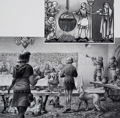 Fourteenth Century Dinner.  The illustration on the right, taken from an old manuscript, shows the cook and butcher at their work.  Note the adjustable crane from which the cooking pot hangs.  Below we see a typical dinner in a rich man's house in the 14th century.  A cloth covers the table for the owner of the house, his family and friends, while the more ordinary folk are seated at a bare table to one side.  Dogs were invariably present, seeking warmth from the fire in the centre of the room and scraps that might fall from the servants' trays or be tossed by their masters.  Music was also an essential part of the entertainment.  Original artwork for illustration on p24 of Look and Learn issue no 707 (2 August 1975).