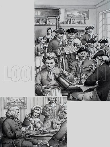 Coffee and Tea.  The top picture shows a typical London coffee house in the 18th century; the picture on the left shows Dr Johnson taking tea, being entertained by Mr and Mrs Thrale.  Notice that the tea cups have handles, unlike the ones in the picture above.  Original artwork for illustration on p33 of Look and Learn issue no 710 (23 August 1975).