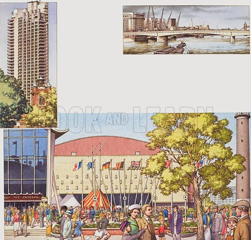 The Royal Festival Hall, with the Barbican and London Bridge.  Original artwork for Look and Learn (issue yet to be identified).