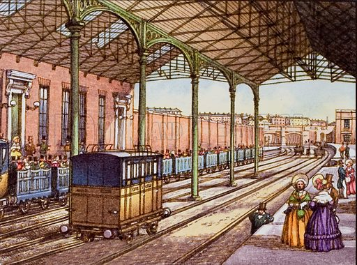 Euston Station in 1837, the year it was opened as the terminus for the London and Birmingham Railway.