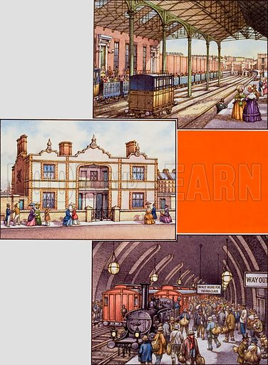 Victorian Buildings.  Top picture shows Euston Station in 1837, the year it was opened as the terminus for the London and Birmingham Railway.  The left picture shows model buildings that were built near the Great Exhibition.  Sponsored by Prince Albert, they contained four flats, each let at 20p a week.  The bottom picture shows a station on the Metropolitan Railway opened in 1863.  This underground railway was very popular in spite of the smoke and dirt made by the steam locomotives.  Original artwork for illustration on p21 of Look and Learn issue no 768 (2 October 1976).