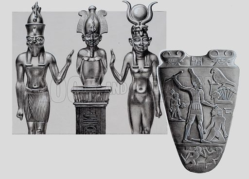 Egyptian Gods. Among the Egyptian gods were the divine Triad of Osiris (centre), his wife Isis (right) and their son the hawk god, Horus. Below is the tablet of Normor. Original artwork for illustration on p24 of Look and Learn issue no 728 (27 December 1975).