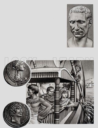 Cleopatra being Rowed along the Nile.  Illustration also includes a marble bust of Julius Caesar, and two sides of a silver coin issued in Syria about 34BC bearing the heads of Antony and Cleopatra.  Original artwork for p23 of Look and Learn issue no 734 (7 February 1976).
