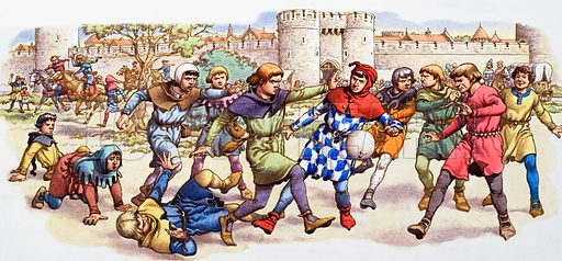 Medieval game of football using a pig's bladder at Newgate, London.