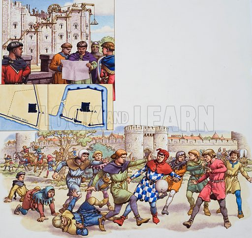 William the Conqueror.  One of the William of Normandy's first acts was to build the White Tower at the centre of the Tower of London's present complex of fortifications.  The lower illustration shows a no-holds-barred game of football with a pig's bladder at Newgate.  Original artwork for illustrations on p20 of  Look and Learn issue no 762 (21 August 1976).