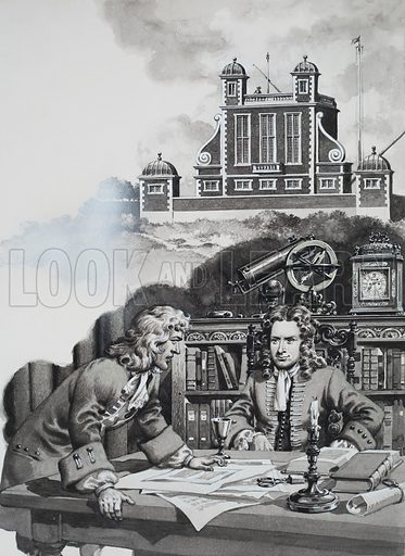 Halley enquiring of Newton.  The astronomer Edmond Halley was puzzled by the movements of the planets around the Sun.  He went to see Newton - and discovered that he had solved the problem years before.  At the top is a picture of the Greenwich Observatory, designed by Sir Christopher Wren.  Original artwork for illustrations on p5 of Look and Learn issue no 226 (14 May 1966).