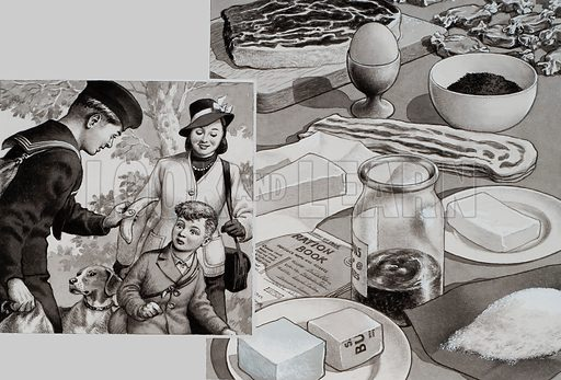 Rations.  On the right is the weekly ration of food on which each Briton went to war.  Foreign food like bananas vanished from the shops.  Children grew up without having seen them and, when, offered a banana by a sailor home from overseas, often refused them because they did not know what they were (left).  Original artwork for illustration on p34 of Look and Learn issue no 714 (20 September 1975).