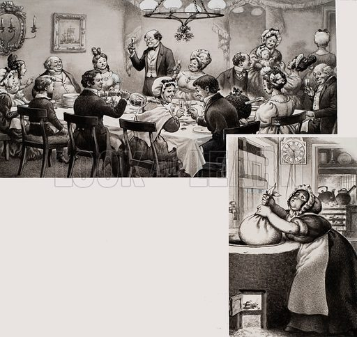 Victorian Middle Class Dining at Christmas, with inset showing a Christmas pudding being cooked in the wash boiler. Original artwork for illustration on p34 of Look and Learn issue no 712 (6 September 1975).