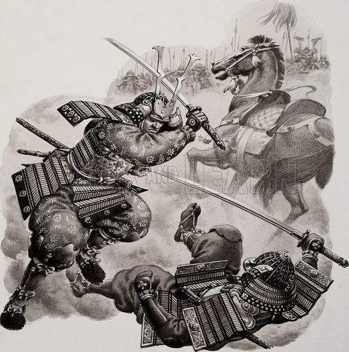 Two Japanese samurai warriors fighting. Original artwork for Look and Learn (issue yet to be identified).