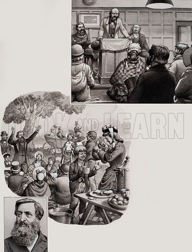 "Salvation Army.  William Booth found he had a small tough army of brave soldiers behind him ready to fight.  Outings, tea parties and suppers were all mixed with prayers, hymns and Bible readings.  Booth called these gatherings ""Jam and Glory Meetings"".  Inset shows William Booth in 1879 aged 50.  Original artwork for illustration on p17 of Look and Learn issue no 655 (3 August 1974)."