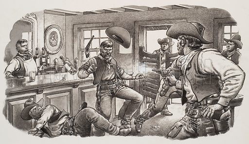 Cowboys of Oregon. Gunfight in the old wild west. Original artwork from Look and Learn no 484 (24 April 1971).
