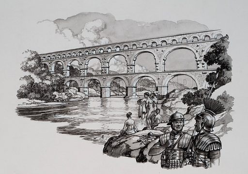 Aqueduct.  Water poured into Ancient Rome through 220 miles of aqueducts, like this one built at the end of the 1st century AD.  Original artwork for illustration on p12 of Look and Learn issue no 459 (31 October 1970).