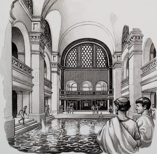 Roman Baths.  The Romans were more bath conscious than any other great nation.  Our picture shows the Great Bath at Bath which later became a ruin.   Original artwork for illustration on p12 of Look and Learn issue no 459 (31 October 1970).
