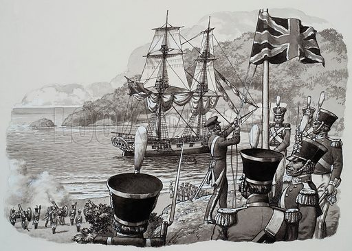 Arrival in Western Australia.  21st January 1827 was a great day in the history of Western Australia, when the Union Jack was unfurled and redcoats of the 39th Regiment fired a salute.  The British had come to stay.  Original artwork for illustration on p22 of Look and Learn issue no 483 (17 April 1971).