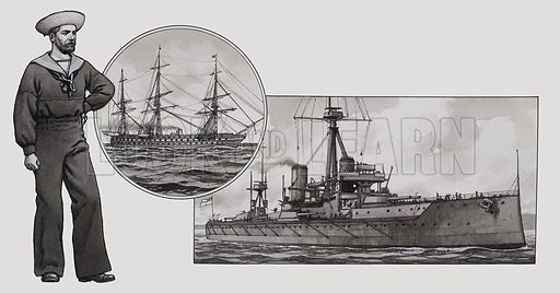 Sailor.  A British Sailor of the late 19th century.  The Navy did not go over to steam until the 1850s.  On the right is shown HMS Dreadnought (1906) which was the most advanced warship of its day in speed, armour and armament.  Original artwork for illustration on p4 of Look and Learn issue no 480 (27 March 1971).