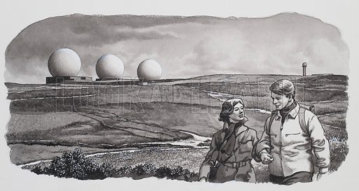 Early Warning.  In the foreground a peaceful scene.  In the background, three symbols of the nuclear age.  They are the three radomes of the Ballistic Missle Early Warning Station on Fylingdales Moor.  Original artwork for illustration on p4 of Look and Learn issue no 481 (3 April 1971).