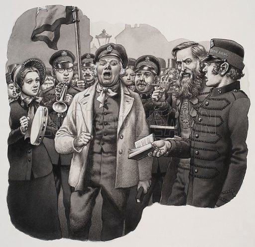 """Salvation Army.  The words of hymns were often put to the day's pop songs.  One converted sea captain sang a hymn to the tune of """"Champagne Charlie is My Name"""".  Original artwork for illustration on p18 of Look and Learn issue no 656 (10 August 1974)."""