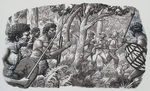 Aborigines.  The Aborigines naturally regarded the first white men who tried to settle near what is now the town of Darwin as invaders, and they harrassed them with clubs and spears.  Original artwork for illustration on p22 of Look and Learn issue no 487 (15 May 1971).