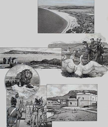 Portland. Illustrations of (from top to bottom): Chesil Beach; a view of Portland from Weymouth; swans in the Chesil Beach's lagoon; and soldiers stationed at Portland during the Napoleonic Wars. Original artwork for illustration on p7 of Look and Learn issue no 447 (8 August 1970).