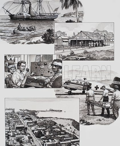 "Darwin, Australia.  Illustrations showing (top to bottom): arrival of William Goyder in the steamer ""Moonta"" to set up a permanent settlement in Darwin; the first commercial hotel; the flying doctor service; and the modern town on Darwin.  Original artwork for illustration on p23 of Look and Learn issue no 487 (15 May 1971)."