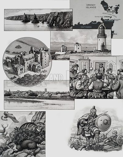 John O'Groats. Illustration showing (from top to bottom): map; the stacks of Duncansby at Duncasnby Head, Caithness; Dunnet Head, the most northerly point of mainland Britain; the Castle of Mey; the eight sons of Jan de Groot enjoying a good argument at table, while their father, after whom John O'Groats is named, looks on; Viking invaders; and examples of wildlife in the area. Original artwork for illustration on p7 of Look and Learn issue no 449 (22 August 1970).