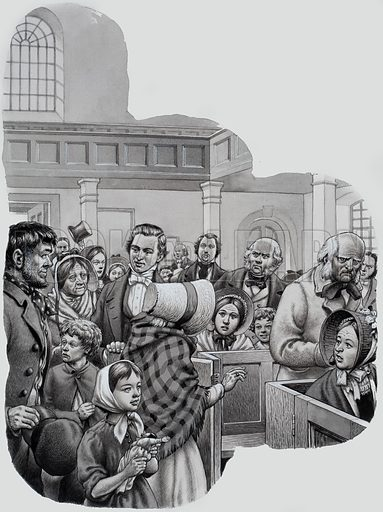 Salvation Army. A shocked and astonished congregation saw a group of dirty, shabby men and women hobbling nervously through the chapel door with William Booth (founder of the Salvation Army) ushering them through the door. Original artwork for illustration on p18 of Look and Learn issue no 654 (27 July 1974).
